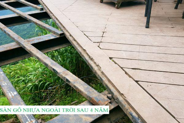 Sàn gỗ nhựa ngoài trời Quán Gió Tam Đảo sau 4 năm sử dụng